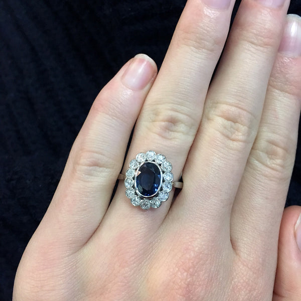 Glittering Platinum Sapphire and Diamond Halo Engagement Ring | Cedar Creek from Trumpet & Horn