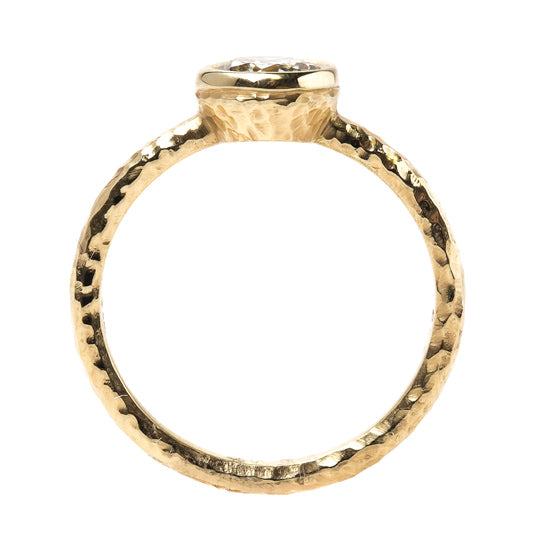 T&H Original Solitaire Engagement Ring with Hammered Gold Band | Challis Farm from Trumpet & Horn