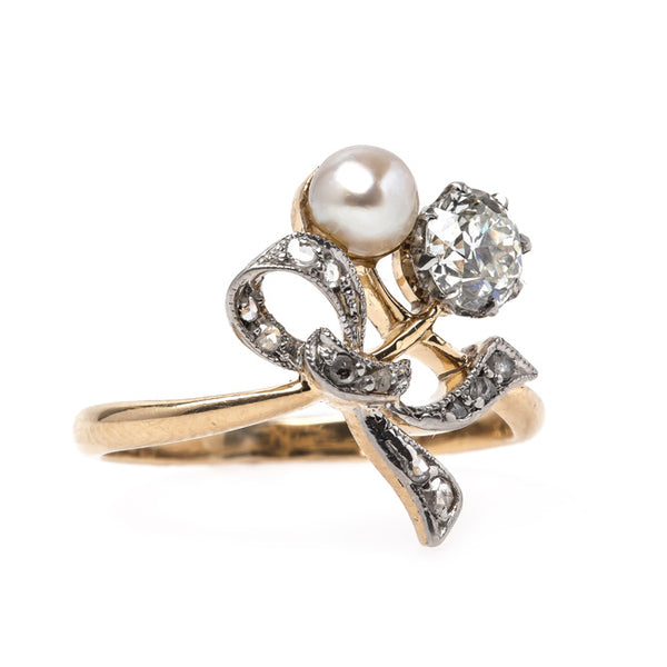 Romantic Edwardian Era Ring with Classic Diamond and Pearl | Chancery Lane