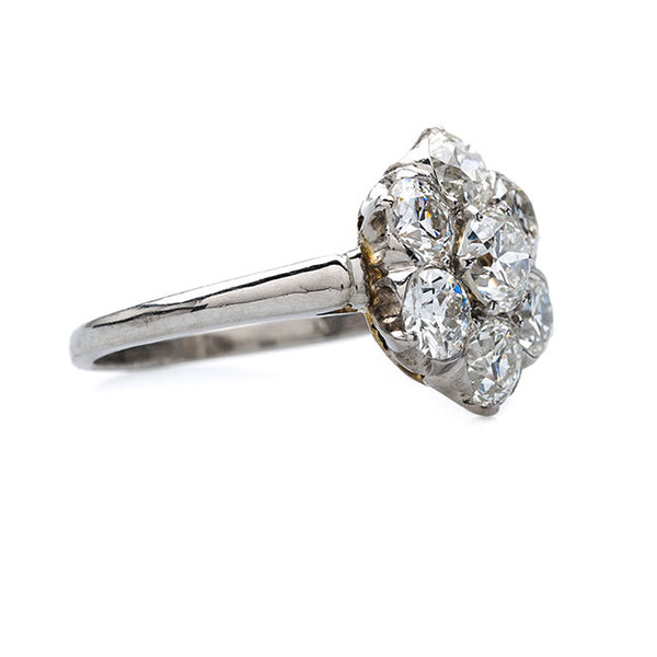 Late Art Deco Platinum and Diamond Cluster Ring | Channing from Trumpet & Horn