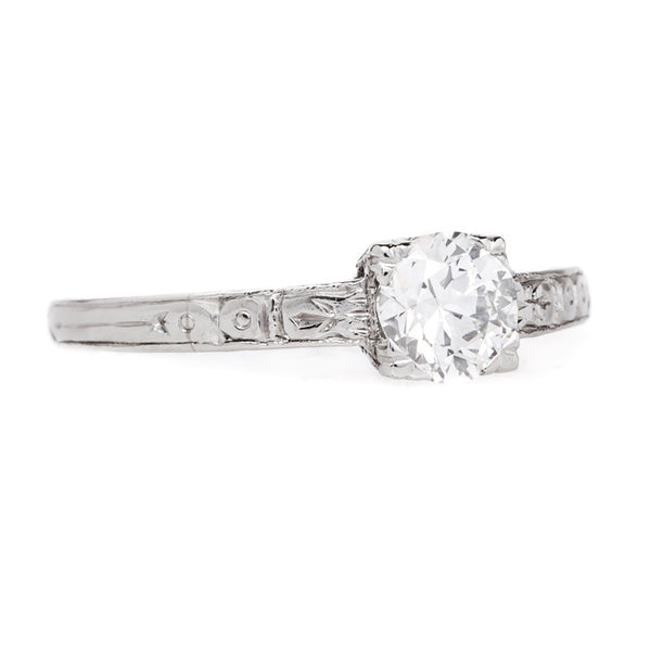 Late Art Deco Solitaire with Incredibly White Diamond | Chapala from Trumpet & Horn