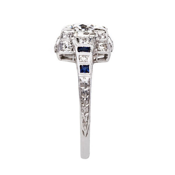 Showstopping Geometric Art Deco Ring with Sapphire Accents | Charlton from Trumpet & Horn