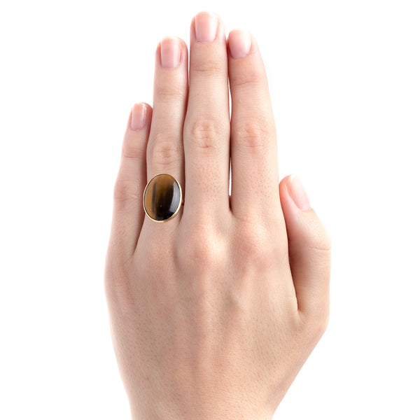 Authentic Modern Era Tiger's Eye Quartz Cocktail Ring | Charter Oak from Trumpet & Horn