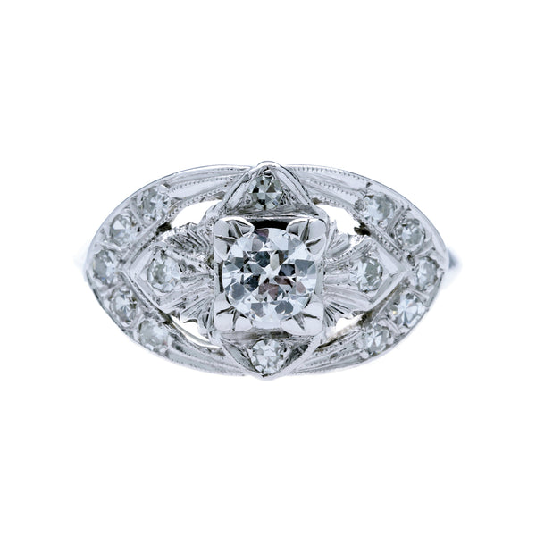 A Lovely Art Deco 14k White Gold and Diamond Vintage Engagement Ring | Chartwell