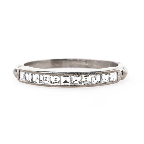 Cheshire Vintage Art Deco Platinum Wedding Band | T&H from Trumpet & Horn