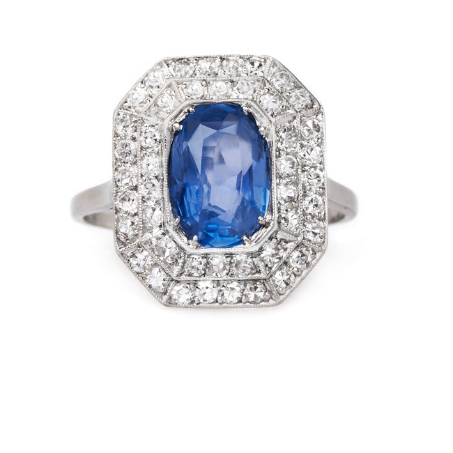 Exquisite and Bold Art Deco Sapphire and Diamond Cocktail Ring | Chesterton from Trumpet & Horn