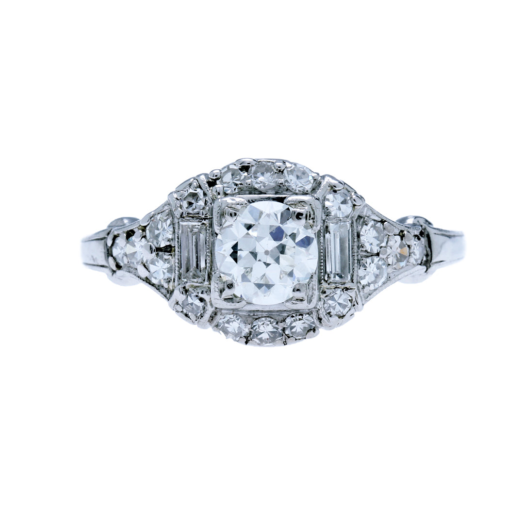 A stunning  Vintage Art Deco Platinum and Diamond Engagement Ring | Chesterton Court