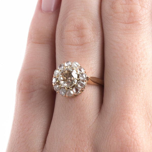 Remarkable Victorian Era Halo Ring with Warm Chestnut Diamond Center | Cheviot Hills from Trumpet & Horn