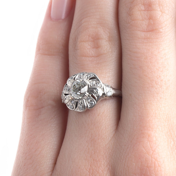 Impressive Late Art Deco Platinum Engagement Ring with Fan Shaped Halo | Chitwick Pond from Trumpet & Horn