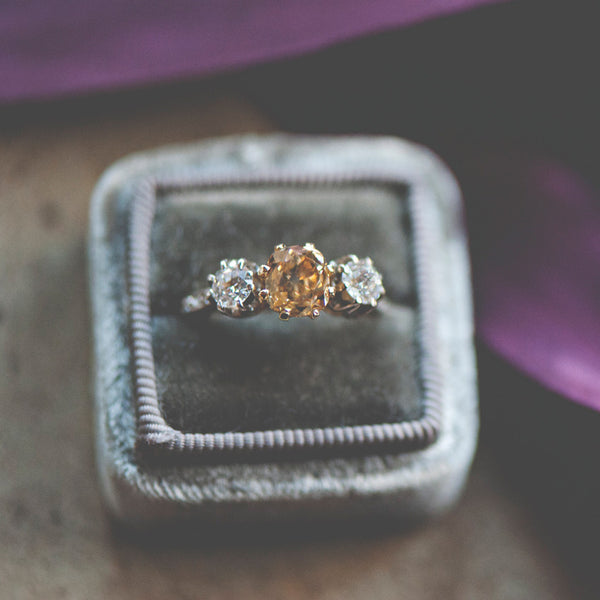 Williamsburg vintage three stone diamond engagement ring | Photo by Christina Block