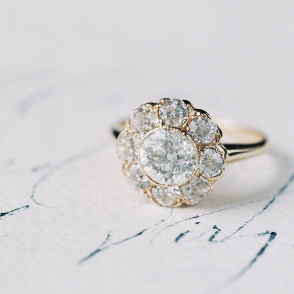 Antique Halo Engagement Ring | Holloway from Trumpet & Horn | Photo by Laura Gordon
