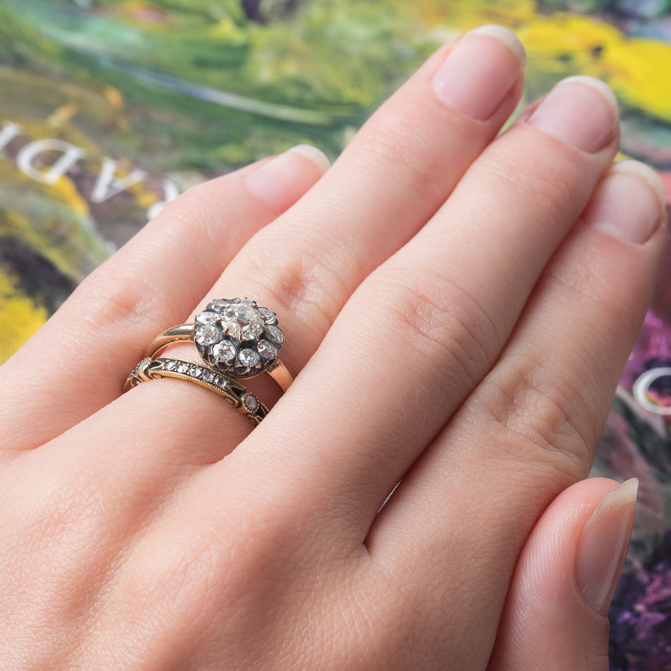 Elegant Victorian Era Cluster Ring with Old European Cut Diamond ...