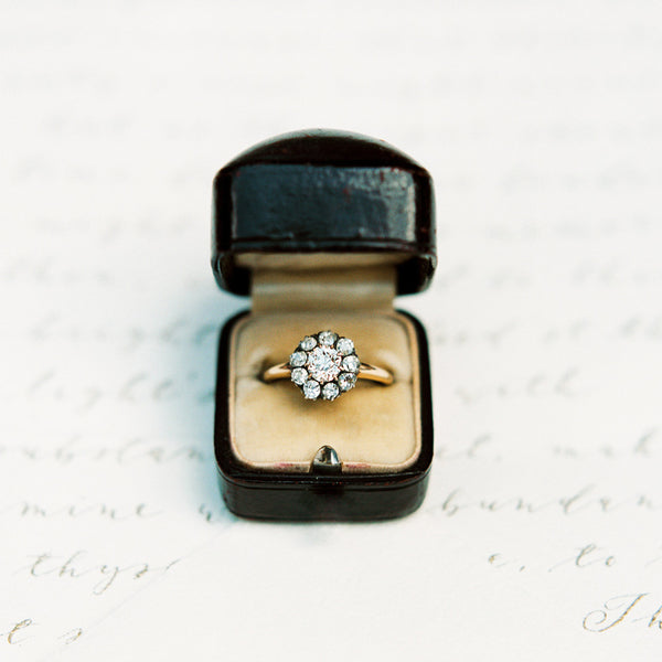 Elegant Victorian Era Cluster Ring with Old European Cut Diamond Center | Clarebourne from Trumpet & Horn
