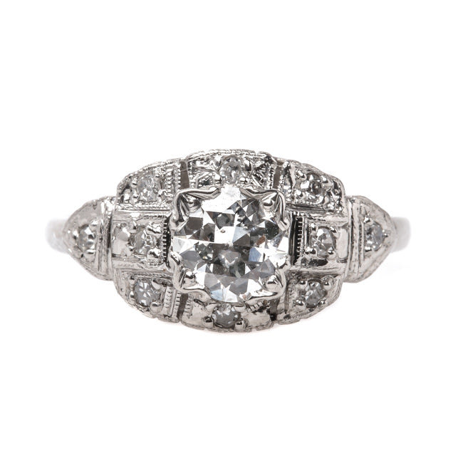 Classic Art Deco Era Platinum Vintage Engagement Ring with Old European Cut Diamond Center | Tottenham