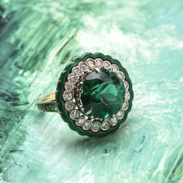 Extraordinary Vintage Retro Era Cocktail Ring with Tourmaline Center | Clifton from Trumpet & Horn