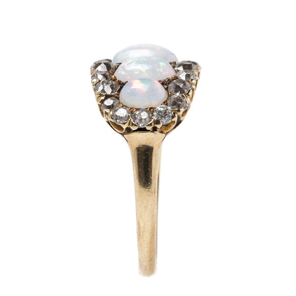 Whimsical Victorian Era Opal Ring with Old Mine Cut Diamond Halo | Coachella from Trumpet & Horn