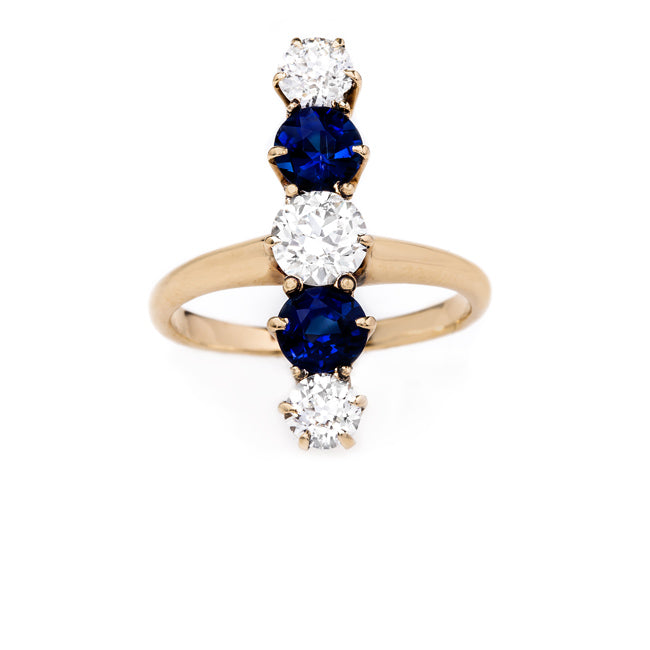 Vertically Set Diamond and Sapphire Engagement Ring | Coldwater Canyon from Trumpet & Horn
