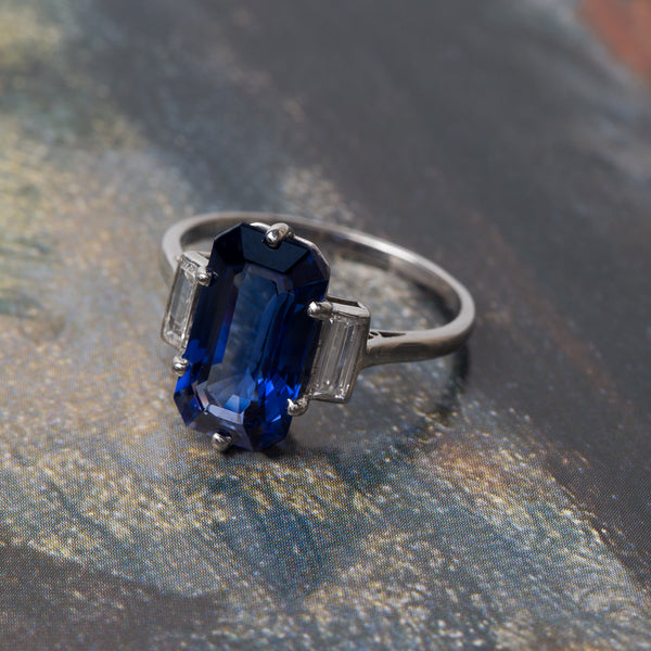 Remarkable Rectangular Sapphire Engagement Ring | Collin's Creek from Trumpet & Horn