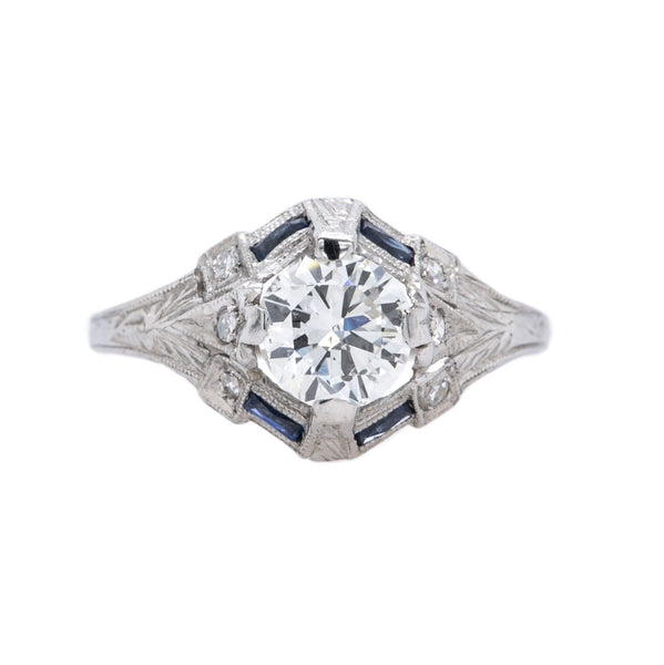 A Dazzling Art Deco Era Platinum, Diamond and Sapphire Engagement Ring
