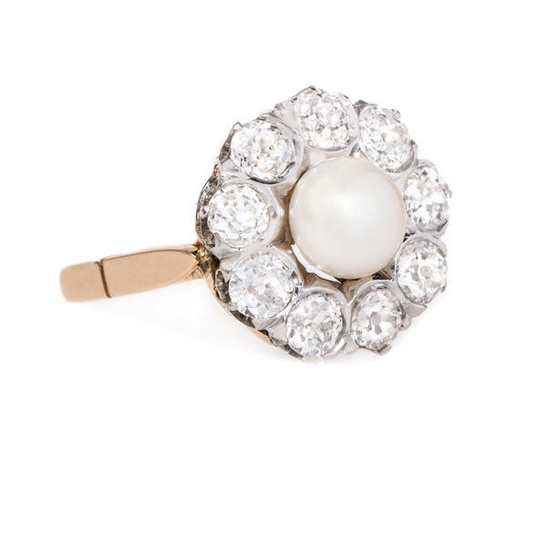 Classic Victorian Era Pearl and Diamond Engagement Ring | Cottingham from Trumpet & Horn