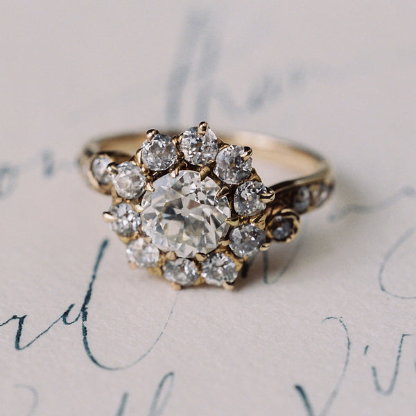 Antique Victorian Halo Ring | Cottonwood Springs from Trumpet & Horn | Photo by Laura Gordon