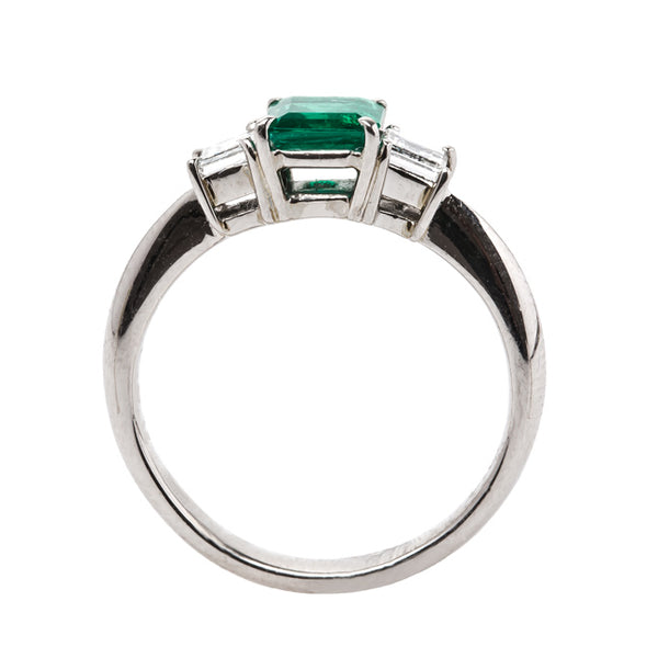 Modern Platinum Set Emerald and Diamond Engagement Ring | Courtland from Trumpet & Horn