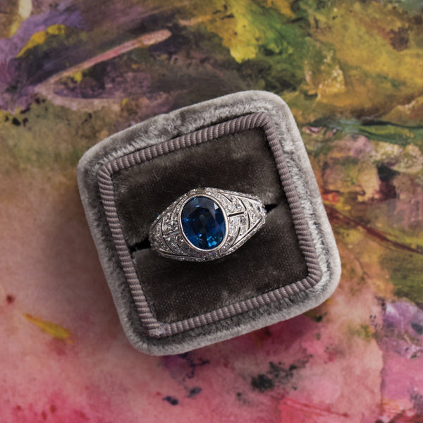 Authentic Edwardian Era Engagement Ring with Natural Heated Sapphire and Single Cut Diamonds | Covent Gardens