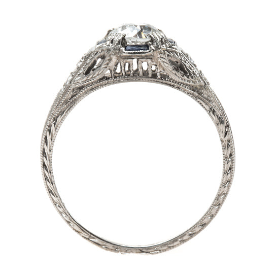 Romantic Edwardian Era Diamond Engagement Ring with French Cut Snythetic Sapphires | Cranbrook from Trumpet & Horn