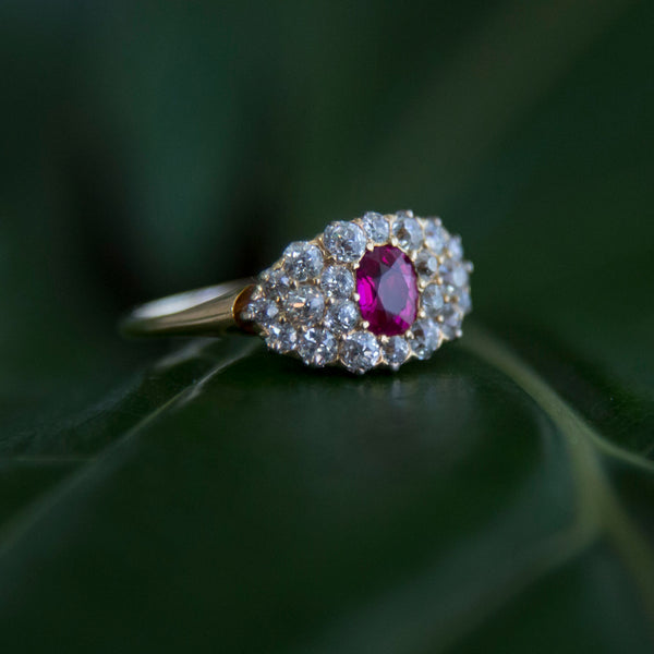 Crawford Creek : Authentic Victorian Era 18k yellow gold ruby and diamond cluster ring