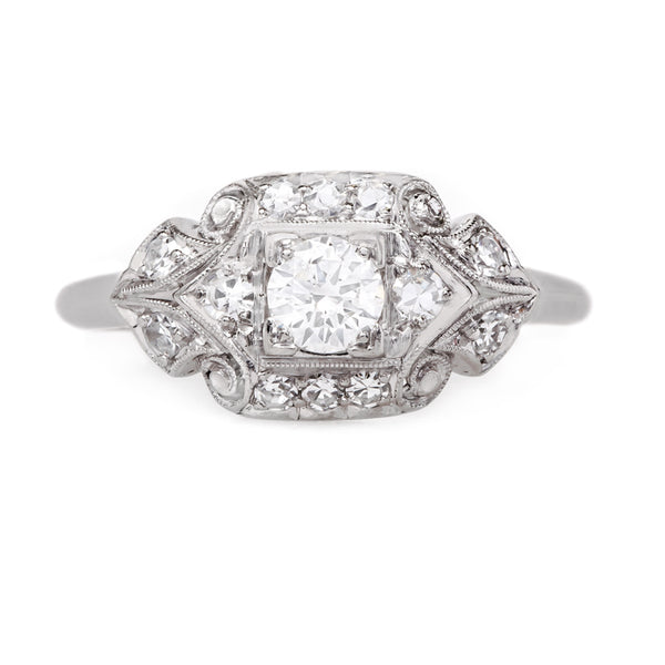 Art Deco Palladium and Diamond Engagement Ring | Crawley from Trumpet & Horn
