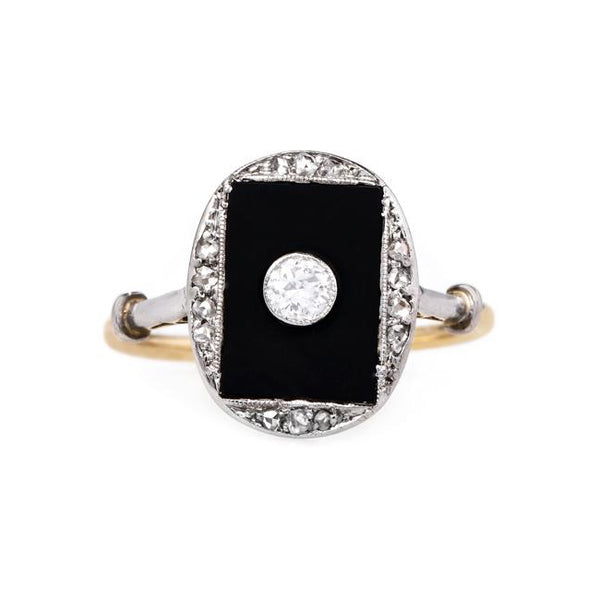 Unique Onyx Ring with Bezel Set Vintage Diamond | Crescent City from Trumpet & Horn