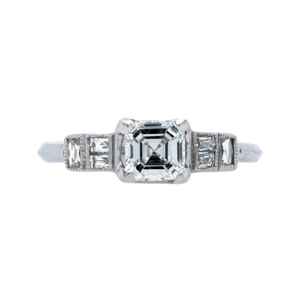 Vintage Colorless Square Emerald Cut Diamond Engagement Ring | Crofton