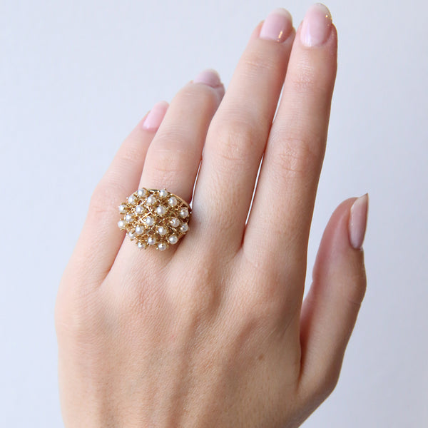 A Funky Mid-Century 18k Yellow Gold and Pearl Cocktail Ring | Crosshaven