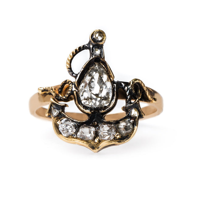 Anchor Ring with Pear Shaped Diamond | Cunningham from Trumpet & Horn