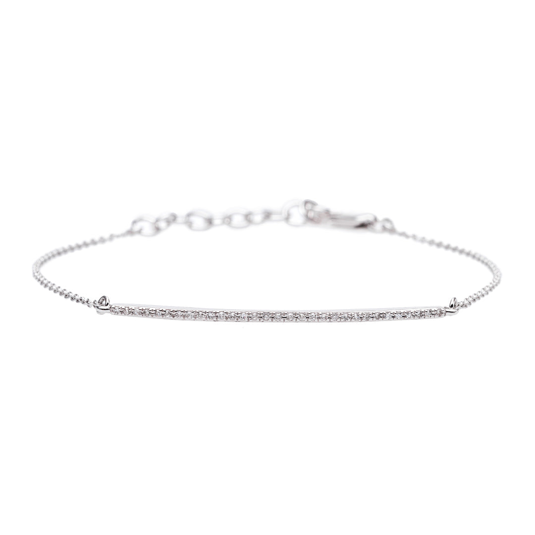 Delicate White Gold Curved Bracelet from Trumpet & Horn