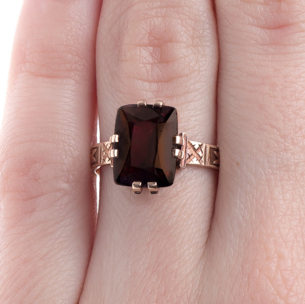 Beautifully Handcrafted Victorian Era Garnet Ring with Engraving | Dalmary from Trumpet & Horn