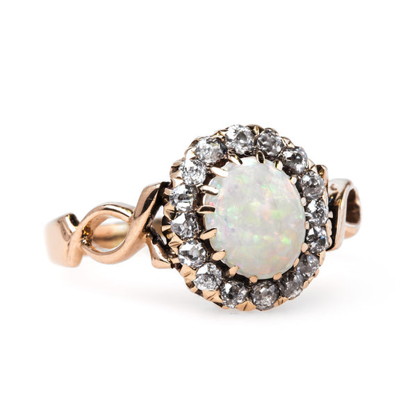 Exquisite Opal Ring with Diamond Halo | Davenport from Trumpet & Horn