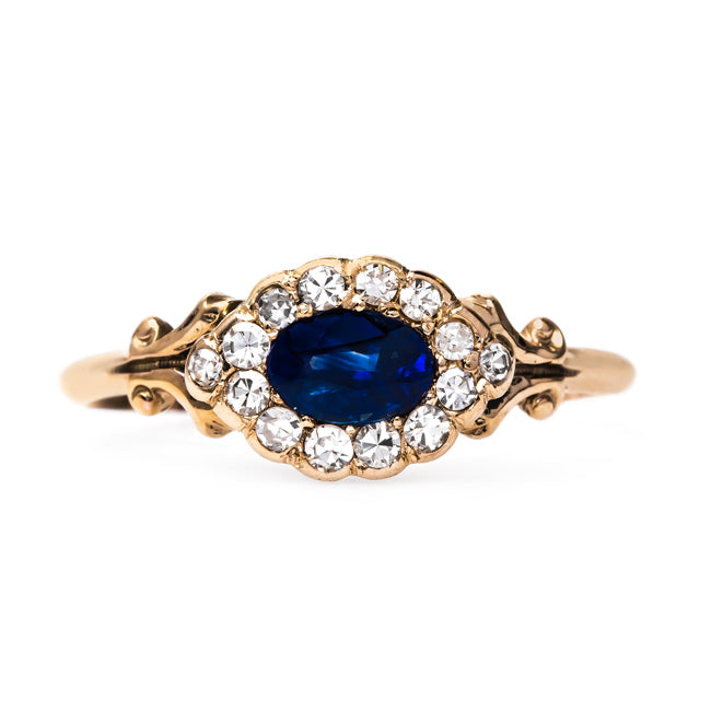 Unique Retro Era Sapphire Halo Ring | Delfino from Trumpet & Horn