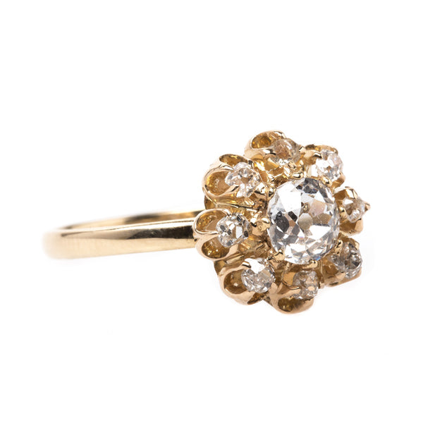 Romantic Victorian Era Diamond Ring with Old Mine Cut Halo | Delevan from Trumpet & Horn