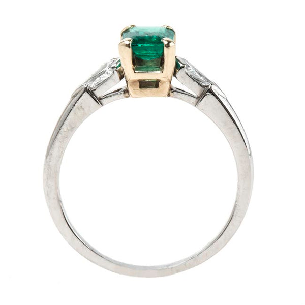 Classic Rectangular Emerald Engagement Ring with Diamond Accents | Delmont from Trumpet & Horn