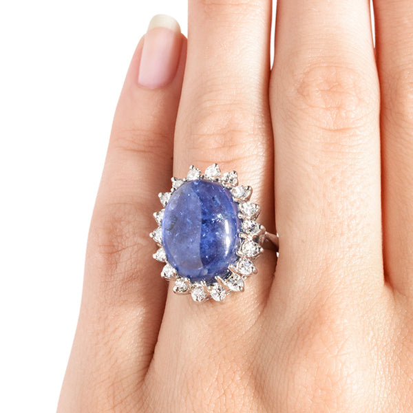 Vintage Sapphire Cabochon Halo Diamond Cocktail Ring | Derbyshire from Trumpet & Horn