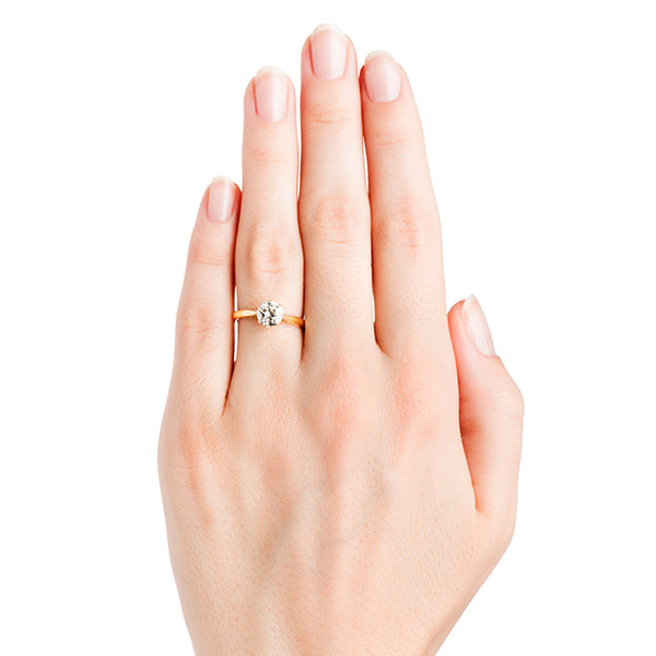Vintage Simple Gold Solitaire Engagement Ring