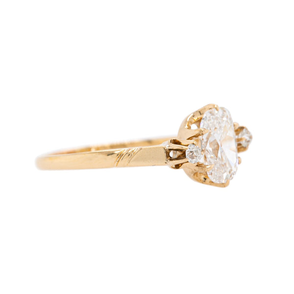 Timeless Victorian Rose Gold Three Stone Old Mine Cut Cushion Diamond Ring | Runnymede