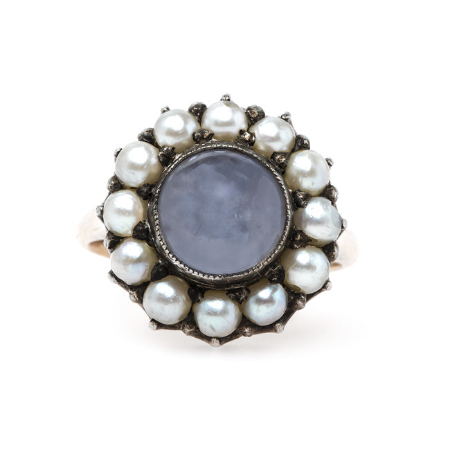 Charming Early Victorian Era Star Sapphire and Pearl Ring | Farnham from Trumpet & Horn