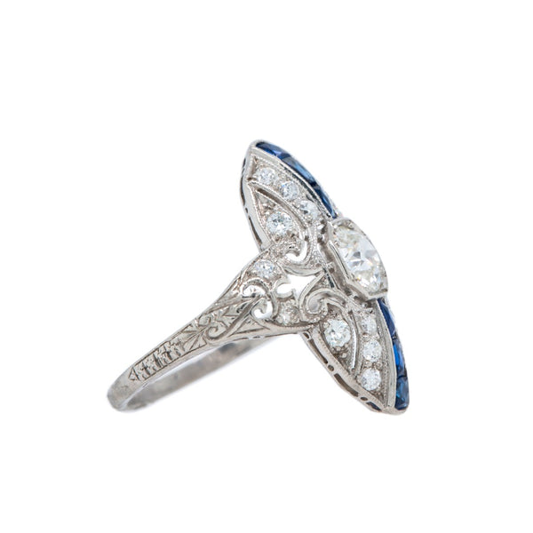 Brilliant Sapphire & Diamond Art Deco Navette Ring | Tidewater