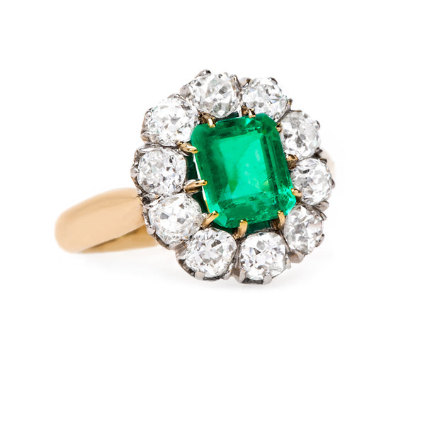 Exceptional Emerald and Old Mine Cut Diamond Ring | Edelweiss from Trumpet & Horn