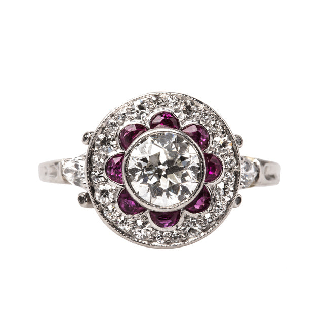 Exquisite Edwardian Era Engagement Ring with Old European Cut Diamond and Ruby Halo | Napa Valley from Trumpet & Horn