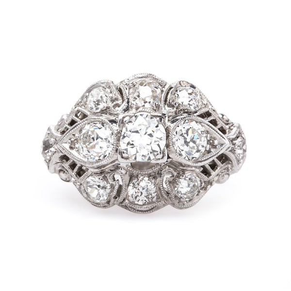 Aspen Edwardian Era Platinum Engagement Ring with Old European Cut Diamonds | Trumpet & Horn