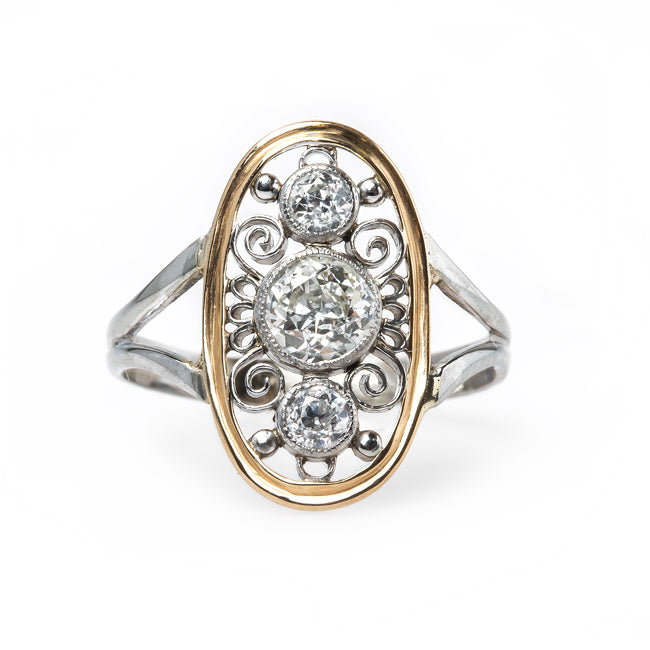 Intricate Edwardian Era Navette Style Diamond Engagement Ring | Gulfstream from Trumpet & Horn