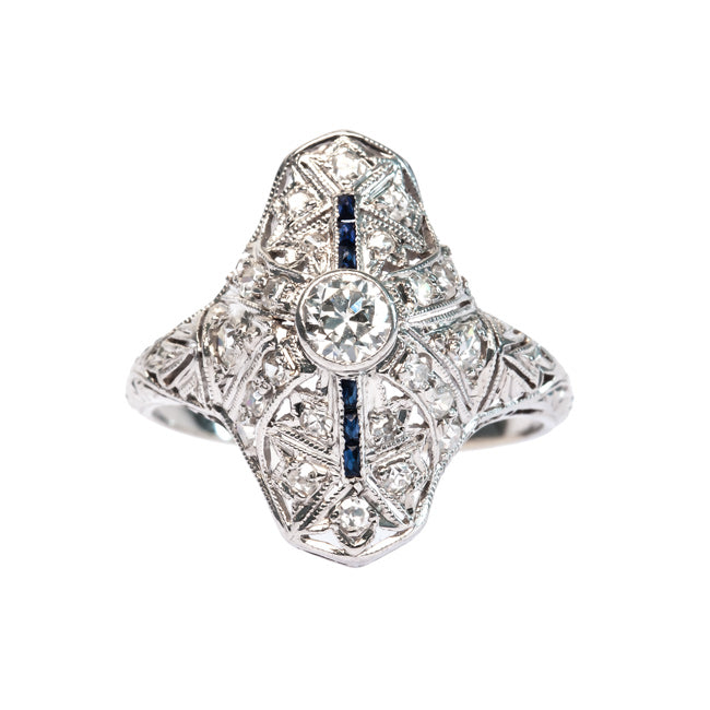 Holyoke Edwardian Navette Engagement Ring with Old European Cut Diamond and Sapphires | Trumpet & Horn